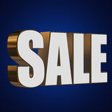 3d white sale word. Sale word on blue background. 3D render Stock Photography