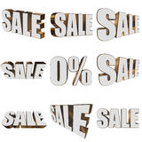 3d white sale word set Royalty Free Stock Photo