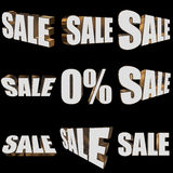 3d white sale word set Royalty Free Stock Photography