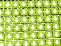 3D White Sign Arrows in green blocks.  Stock Image