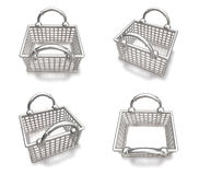 3d white silver shopping bag range four set . 3D Icon Design Ser Stock Images
