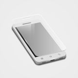 3d white smartphone with protect glass,  on white Stock Images