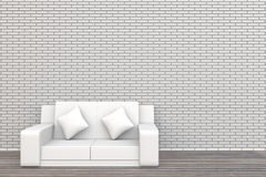 3d white sofa brick wall and wood floor background Stock Photography