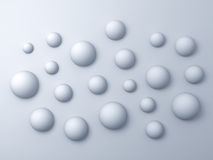 3d white spheres abstract background Stock Photo