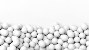 3D white  spheres pile. Isolated on white with copy-space Royalty Free Stock Photography