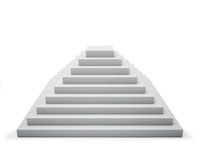 3D white step pyramid. Isolated on white background Stock Photos