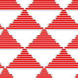 3D white striped triangles with red. Seamless geometric background. Pattern with realistic shadow and cut out of paper effect.3D white striped triangles with red Royalty Free Stock Photography