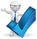 3d white student man with check right symbol. Vector image logo Royalty Free Stock Photography