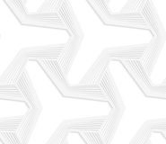 3D white three ray hexagonal stars with striped offset Royalty Free Stock Images