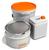 3d white tub paint, bucket, container with metal handle and lid Stock Photography