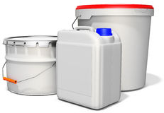 3d white tub paint, bucket, container with metal handle and lid Royalty Free Stock Image