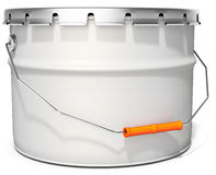 3d white tub paint, bucket, container with metal handle and lid Stock Photo
