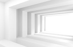 3d White Tunnel. Abstract Architecture Background Stock Photos