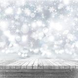 3D white wooden table looking out to a Christmas background. 3D render of a white wooden table looking out to a Christmas background stock illustration