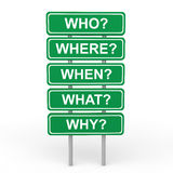 3d who where when what why sign board Royalty Free Stock Images