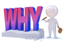 3d Why man. 3d render of a little person carving the word Why royalty free illustration