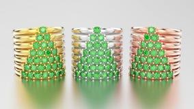 3D wi decorativos dos aneis de diamante do ouro diferente da ilustração três Imagem de Stock