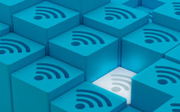 3D Wi Fi无线网络标志 库存图片