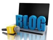 3d wiadomości laptop z słowem blog i mikrofon ilustracji