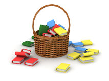 3D Wicker Basket with Books Royalty Free Stock Photography