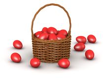 3D Wicker Basket with many Easter Eggs Stock Photography