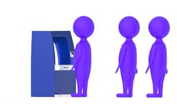 3d widersprechen purpurroter Charakter, s-Reihe in einem ATM Lizenzfreies Stockbild