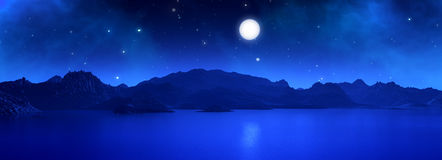 3D widescreen render of surreal landscape. 3D widescreen render of a surreal landscape with moon at night Stock Photography