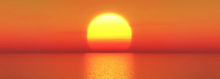 3D widescreen sunset sea. 3D render of a widescreen sunset ocean landscape Stock Photos
