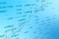 3d Wiedergabe, Aktienkurve mit blauem Hintergrund stockbild