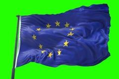 3D Wiedergabe, EU kennzeichnen, Euroflagge mit Pfosten, Flagge des Europäers uni vektor abbildung