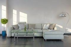 3d Wiedergabe - Innenraum des modernen Wohnzimmers lizenzfreie abbildung