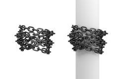 3d Wiedergabe von zwei Stücken Eisenketten, man kräuselte sich um einen Beitrag und andere um sich vektor abbildung