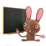 3d Wielkanocnego królika królika Śliczni stojaki przy blackboard Zdjęcie Royalty Free