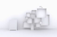 3d Wielki set ramy, Biali pudełka dla sprzedaży towary, akcesoria, materiał, etc (, ) Fotografia Royalty Free