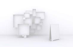3d Wielki set ramy, Biali pudełka dla sprzedaży towary, akcesoria, materiał, etc (, ) 2 Obraz Royalty Free