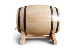 3D wijn van Illustratie houten die vaten op witte achtergrond wordt geïsoleerd Alcoholische drank in houten vaten, zoals wijn Royalty-vrije Stock Foto