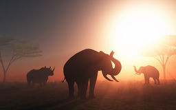 3D wild animals at sunset. 3D render of wild animals in a sunset landscape Stock Photography