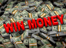 3d win money on dollar packets background Royalty Free Stock Image