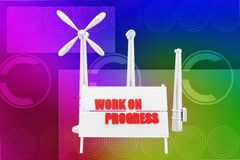 3d Wind Mill Work In Progress Royalty Free Stock Images