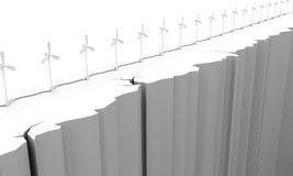 3d. Wind turbine on the brink of a precipice Royalty Free Stock Image