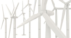 3D wind turbine for clean energy in white background in side ang Royalty Free Stock Photo