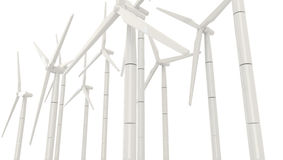 3D wind turbine for clean energy in white background in side ang Royalty Free Stock Images