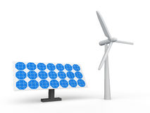 3d wind turbine and solar panel Royalty Free Stock Photos