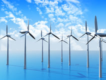 3D Wind turbines in ocean Royalty Free Stock Photo