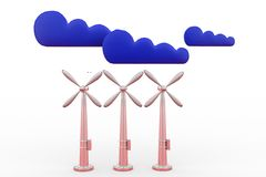 3d  windmill and clouds Stock Photo