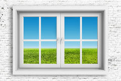 3d window frame with blue sky background Royalty Free Stock Image