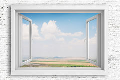 3d window frame with blue sky background Royalty Free Stock Photography