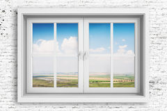 3d window frame with blue sky background Stock Photos
