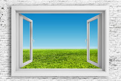 3d window frame with blue sky background Stock Photo