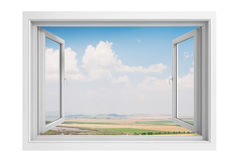 3d window frame with blue sky background Royalty Free Stock Photos